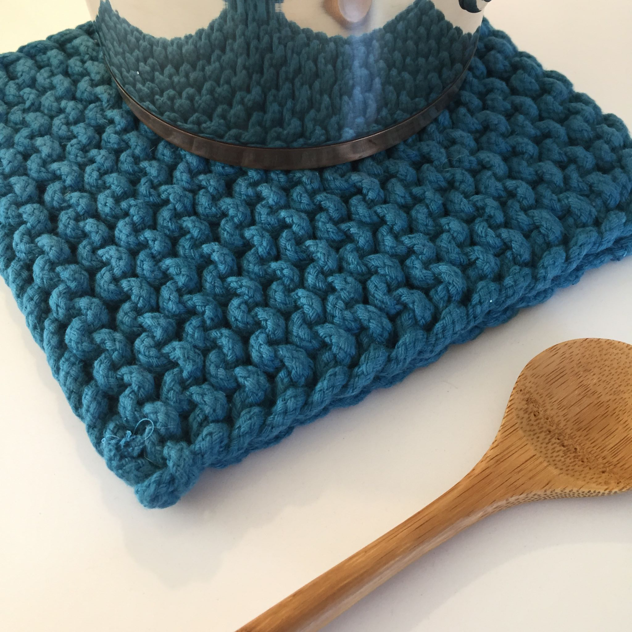 Teal Crochet Pot Holder
